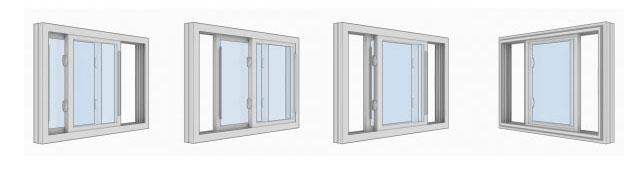 Három paneles toló ablakok 1/3 - FIX - 1/3